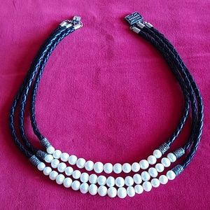 HONORA pearls & black leather sterling silver neck